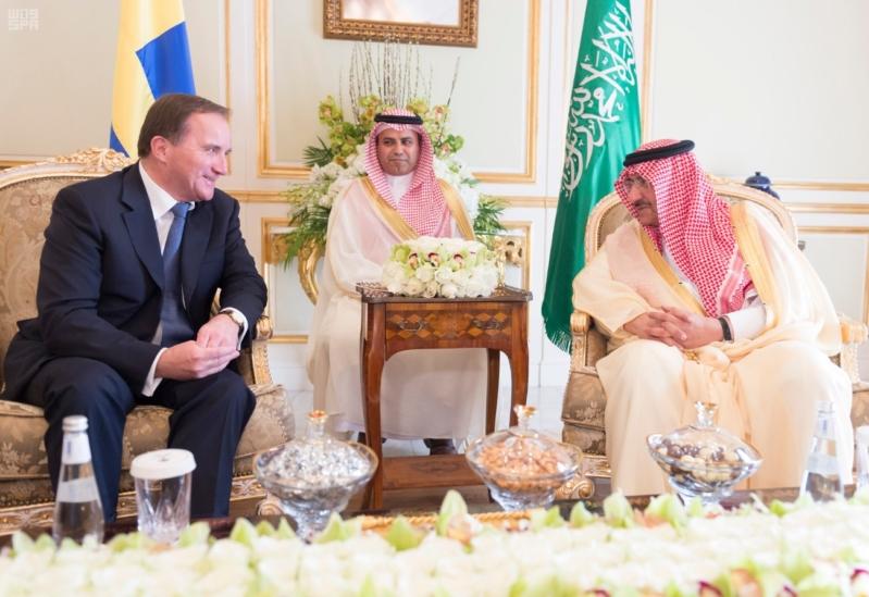 ولي العهد يلتقي رئيس وزراء السويد 1