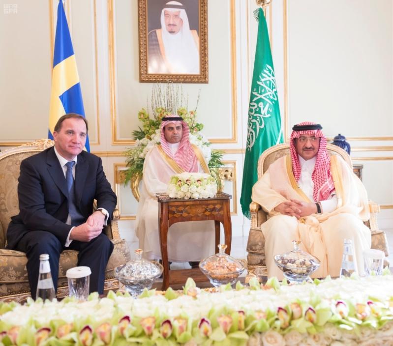 ولي العهد يلتقي رئيس وزراء السويد