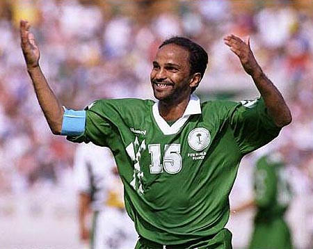 FIFA World Cup France 98 Photo:Action Images Saudi Arabia V South Africa 24/6/98 Youssef Al-Thyniyan - Saudi Arabia celebrates