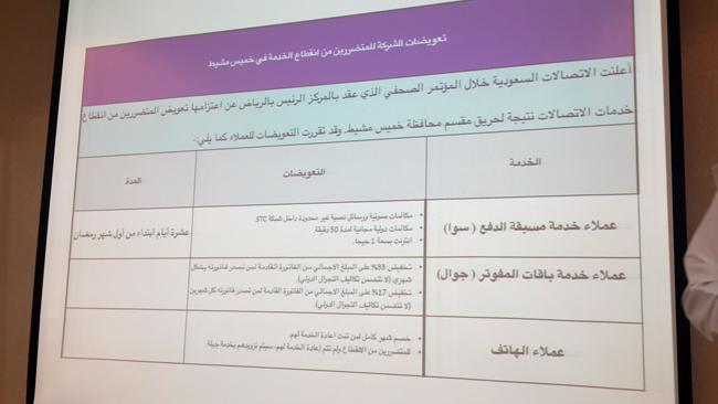 """""""الاتصالات"""" تعلن عن تعويض المشتركين المتضررين عن انقطاع الخدمة بخميس مشيط - المواطن"""