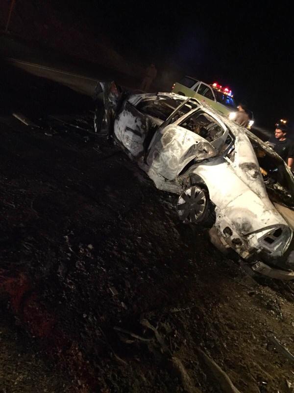 حادث مروع.. تفحم 9 أشخاص على طريق بيشة- خميس مشيط (1)