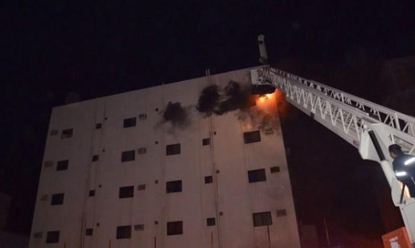 اختناق ثمانية أشخاص أثر حريق شقة بتبوك (2)