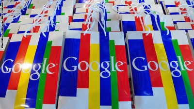 """The Google logo can be seen on bags during a press conference on November 18, 2010 in Hamburg on the launch of Google's street info service """"Street View"""" from 20 German cities, among them Berlin, Frankfurt/M. and Munich. Street View, which allows users to """"walk"""" through towns and cities using photos taken by specially equipped vehicles, is already online in around 20 countries but ran into fevered opposition in Germany.    AFP PHOTO / JOHANNES EISELE (Photo credit should read JOHANNES EISELE/AFP/Getty Images)"""