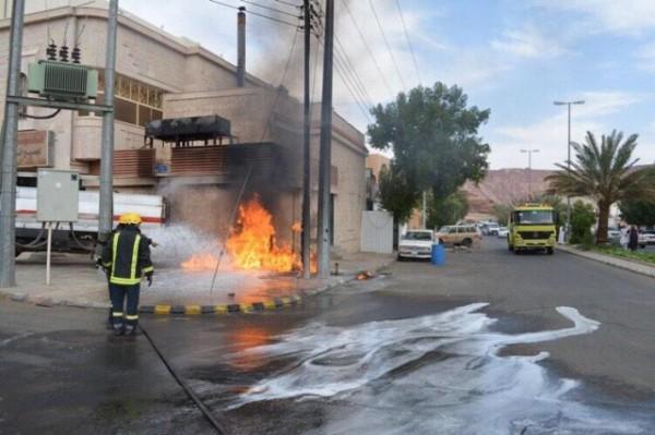 """إخماد نيران مقطورة وقود وإخلاء عائلة مجاورة للحريق بـ""""العلا"""" - المواطن"""