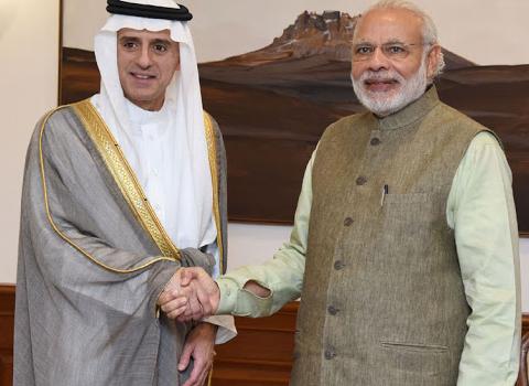 The Foreign Minister of Saudi Arabia, Mr. Adel bin Ahmed Al-Jubeir calls on the Prime Minister, Shri Narendra Modi, in New Delhi on March 08, 2016.