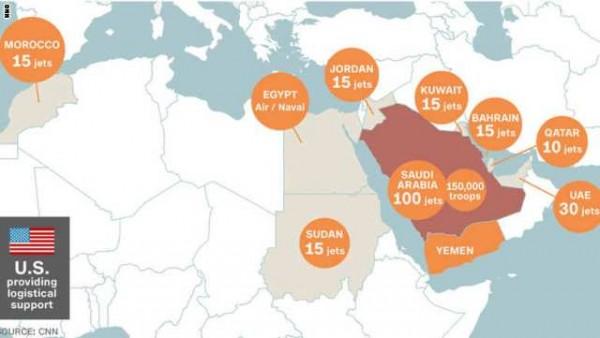 """على الخريطة.. الدول ودورها بعمليات """"عاصفة الحزم"""" ضد الحوثيين - المواطن"""