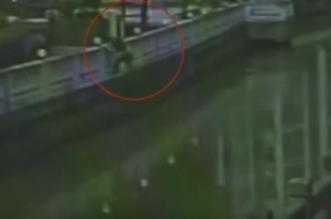 شاهد.. لص يغامر بحياته ويقفز في النهر ليهرب من الشرطة