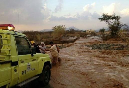 الدفاع المدني في عسير أمطار , سيول