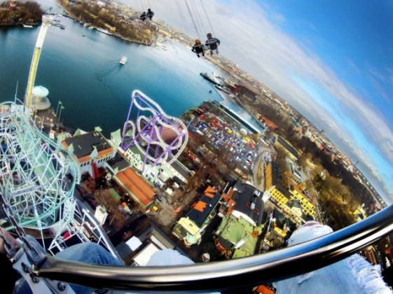 World's tallest chair swing carousel opens at Grona Lund, Stockholm, Sweden - 23 Apr 2013