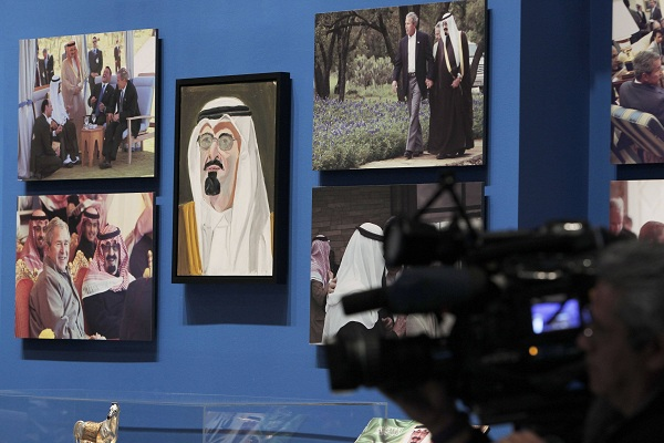 """A portrait of Saudi Arabia's King Abdullah, painted by former U.S. President Bush, hangs on display during """"The Art of Leadership: A President's Personal Diplomacy"""" exhibit at the George W. Bush Presidential Library and Museum in Dallas"""