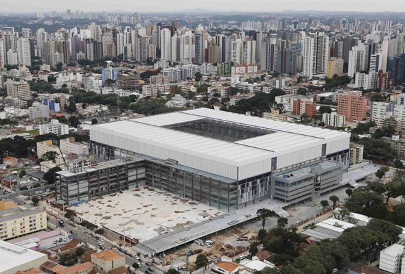 File photo of an aerial view of Arena da Baixada soccer stadium under construction in Curitiba