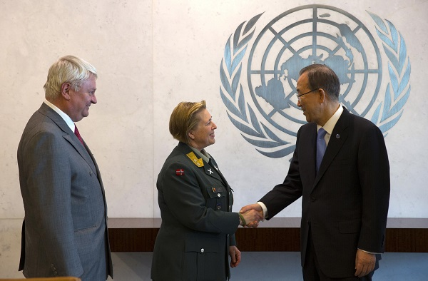 Major General Kristin Lund meets with U.N. Secretary General Ban after Lund was appointed as the new Force Commander of the United Nations Peace Keeping Force in Cyprus in New York