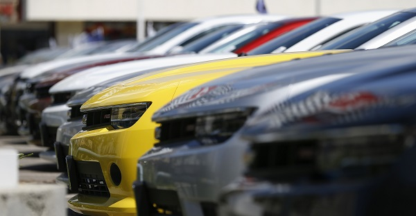 File of a group of Chevrolet Camaro cars for sale is pictured at a car dealership in Los Angeles, California