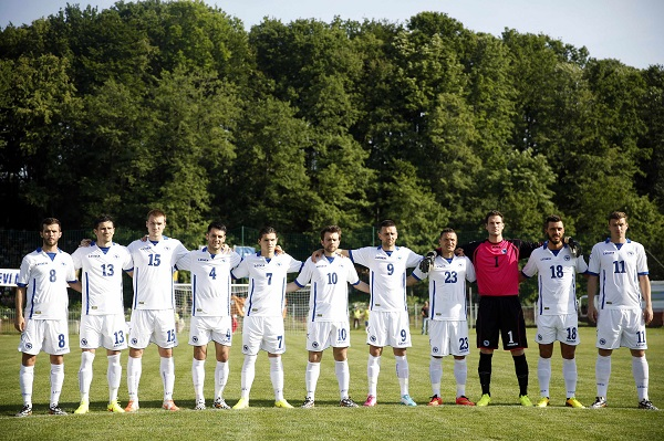 File photo of Bosnia national soccer team players posing for a photo in Gradacac