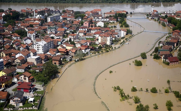 Aerial view of the flooded city of Brcko