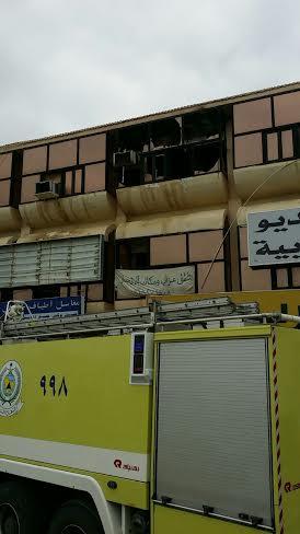 إصابة خمسة أشخاص في حريق مبنى روضة #جازان2