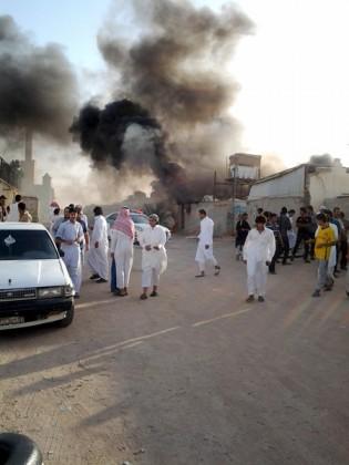 حريق في محل خيام بشرق الرياض