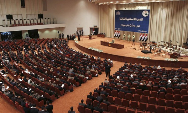 Members of the newly elected Iraqi parliament attend a session at the Parliament headquarters in Baghdad