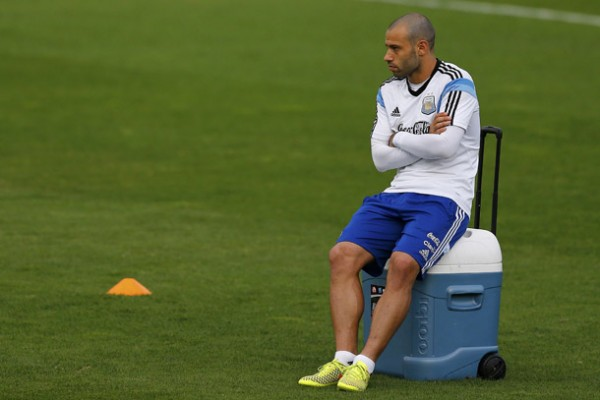 Argentina's player Mascherano attends a training session at the team's training center in Belo Horizonte