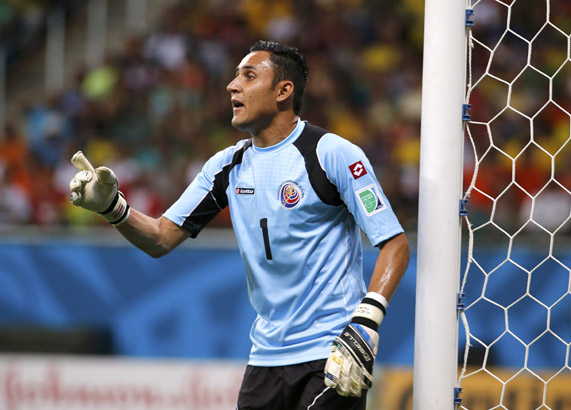 Costa Rica's goalkeeper Keilor Navas gestures during the 2014 World Cup quarter-finals between Costa Rica and the Netherlands at the Fonte Nova arena