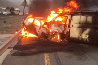 تفحم 3 أشخاص في حادث مروع على طريق محايل - أبها - المواطن
