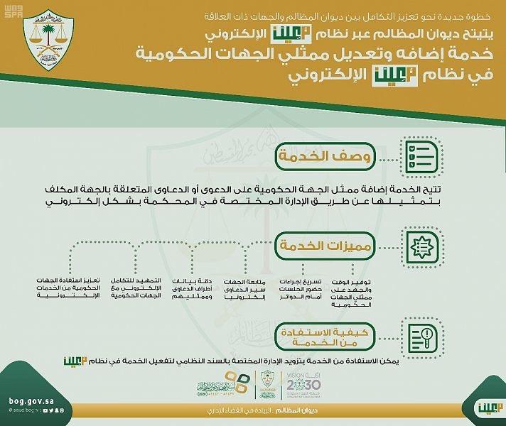 ديوان المظالم يتيح خدمة إضافة وتعديل ممثلي الجهات الحكومية - المواطن