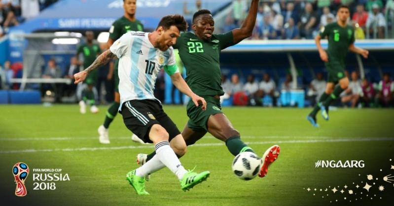 منتخب الأرجنتين يتقدم على نيجيريا في الشوط الأول