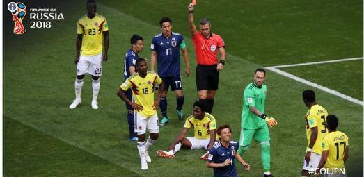 مباراة كولومبيا اليابان تشهد ثاني أسرع بطاقة حمراء في تاريخ المونديال