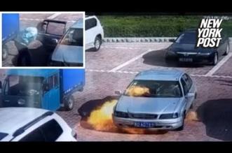 بالفيديو.. احتراق سيارة لحظة تشغيلها وأحد الركاب يحاول إطفاءها بالنفخ - المواطن