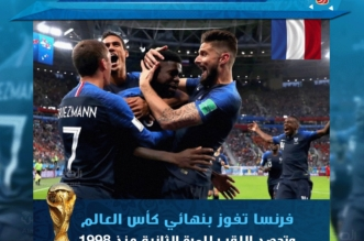 فرنسا تُحطم أحلام كرواتيا برباعية.. وتتوج بكأس العالم 2018 - المواطن