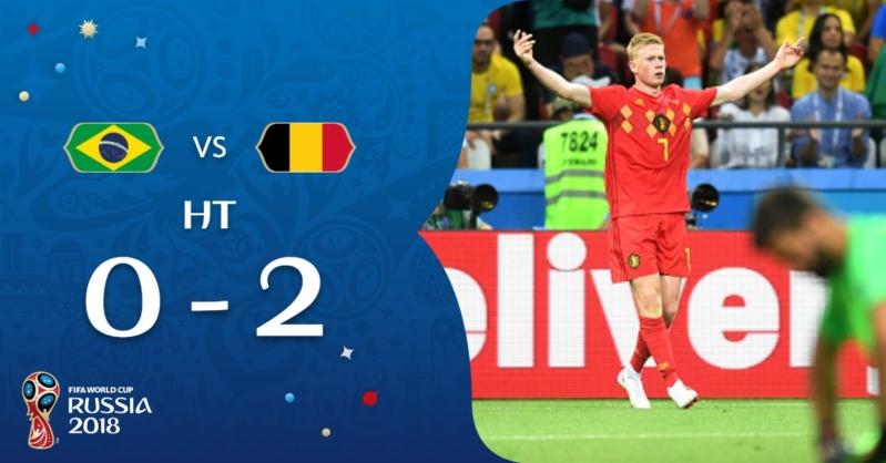 منتخب بلجيكا يتقدم على البرازيل بثنائية في الشوط الأول