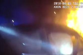 بالفيديو.. لحظة إنقاذ ركاب اشتعلت النيران في مركبتهم - المواطن