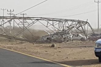 بالصور.. تصادم يسقط أبراج كهرباء ويقطع التيار بالقنفذة - المواطن