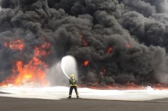 بالصور.. حريق خزان وقود بالمنطقة الصناعية في رابغ - المواطن