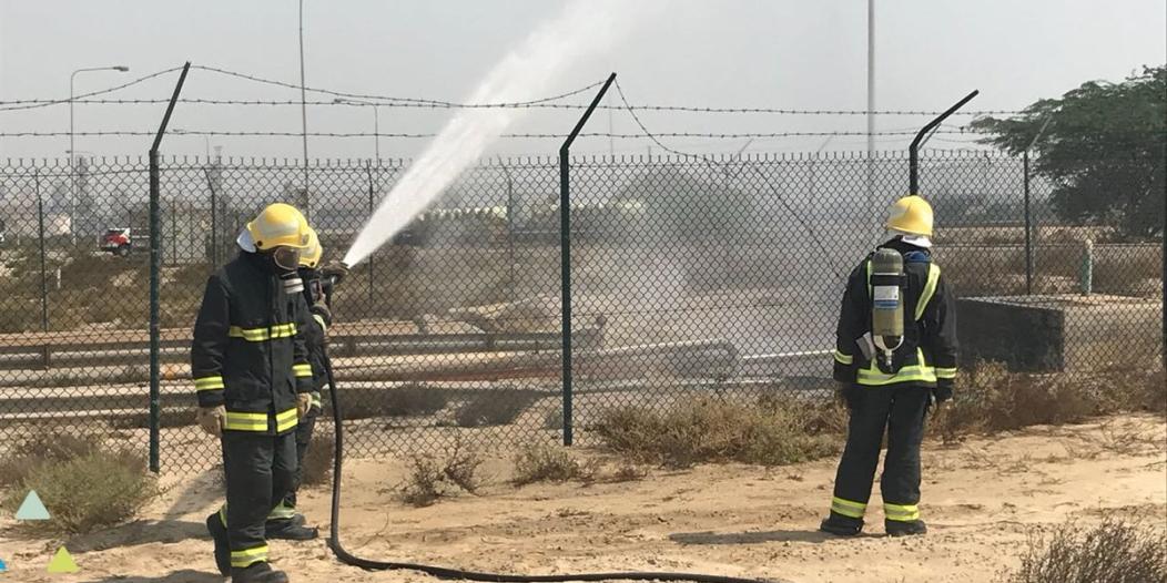 صور.. عزل تسريب محدود لغاز إيبو كلورو هيدرين في الجبيل الصناعية