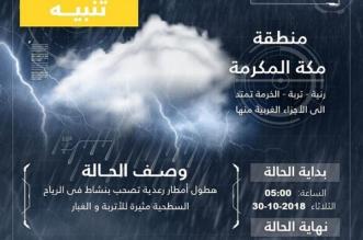الأرصاد تنبه أهالي مكة المكرمة.. أمطار رعدية ورياح نشطة - المواطن