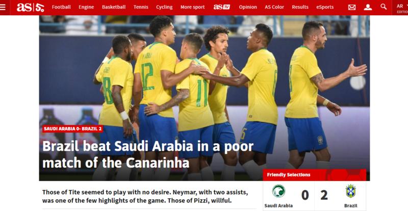 صحيفة برازيلية تعترف بفقر منتخبها فنيًّا أمام الأخضر - المواطن