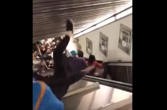 فيديو.. تدافع وصراخ لحظة انهيار سلم كهربائي في مترو روما - المواطن