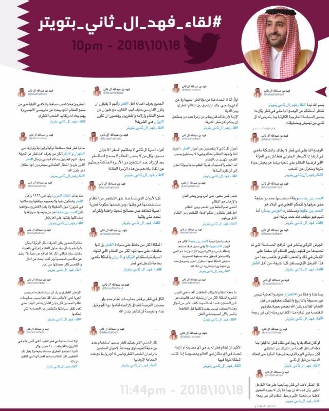 """فهد آل ثاني يفضح تنظيم الحمدين على """"تويتر"""".. حقائق عن الوضع في قطر - المواطن"""