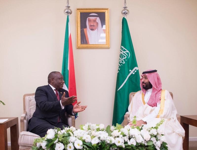 ولي العهد يلتقي رئيس جنوب إفريقيا على هامش قمة مجموعة العشرين