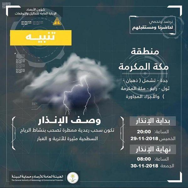 الأرصاد تحذر أهالي مكة من التقلبات الجوية