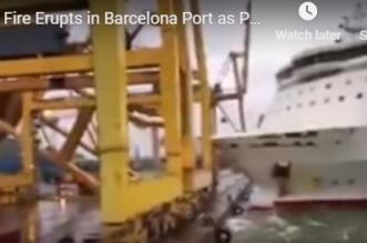 فيديو.. اصطدام عبارة طولها 200م برافعة يحرق ميناءً إسبانيًا - المواطن