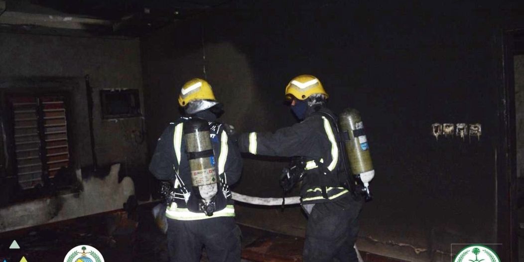 صور.. اختناق امرأة وإخلاء 8 أشخاص في حريق فيلا بجدة