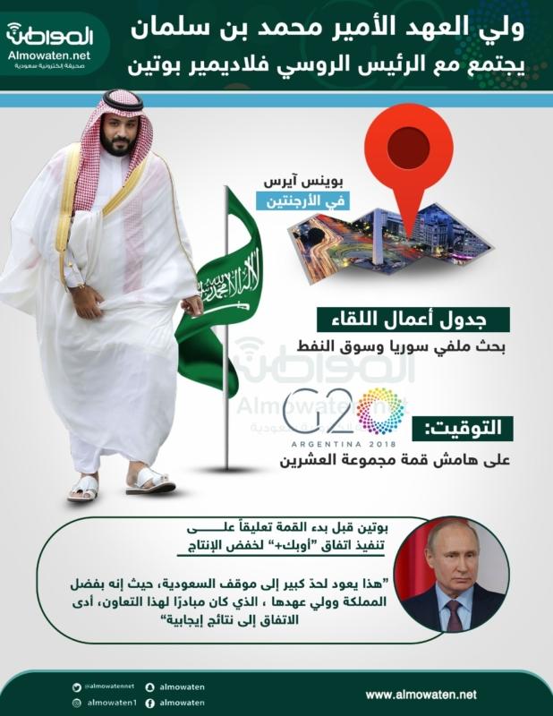 """إنفوجرافيك """"المواطن"""" .. جدول أعمال لقاء ولي العهد وبوتين في قمة العشرين - المواطن"""