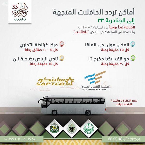 مضاعفة النقل الترددي إلى مهرجان الجنادرية 33 عبر 4 مواقع في الرياض