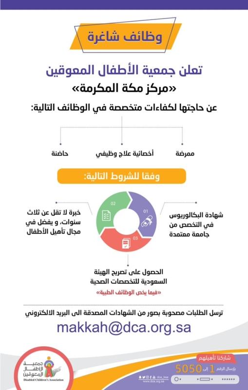 وظائف نسائية شاغرة في جمعية الأطفال المعوقين بمكة - المواطن