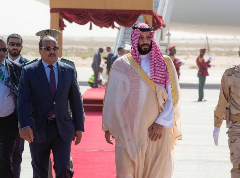 لقطات من وصول ولي العهد إلى موريتانيا في زيارته التاريخية