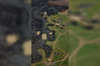 فيديو وصور جوية تظهر جمال فوهة بركان حزم خضراء - المواطن