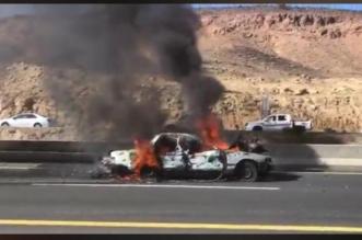 فيديو.. اشتعال مركبة في الحرجة والأمن يباشر - المواطن
