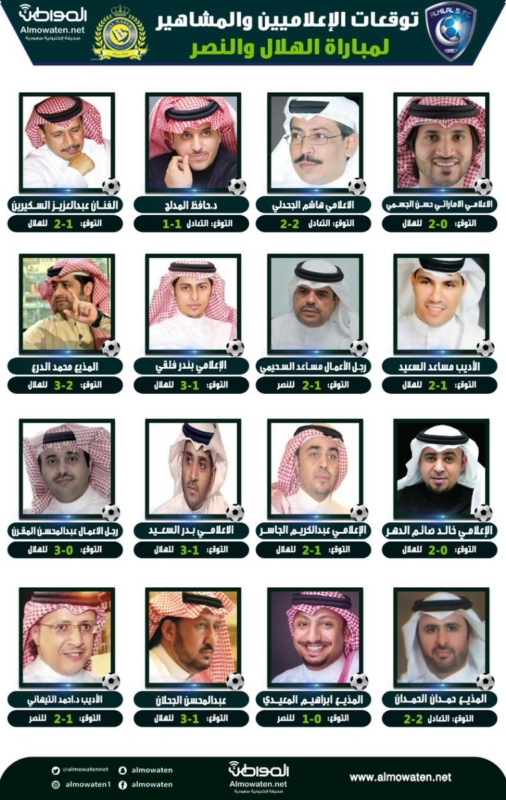 """""""المواطن"""" ترصد توقعات الإعلاميين والمشاهير لـ مباراة #الهلال والنصر - المواطن"""